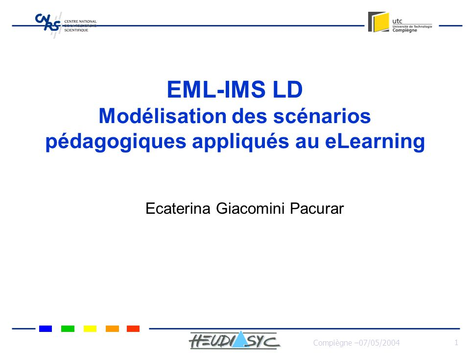 Compiègne –07/05/2004 1 EML-IMS LD Modélisation des scénarios pédagogiques appliqués au eLearning Ecaterina Giacomini Pacurar