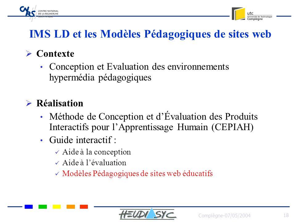 Compiègne-07/05/2004 18 IMS LD et les Modèles Pédagogiques de sites web Contexte Conception et Evaluation des environnements hypermédia pédagogiques R