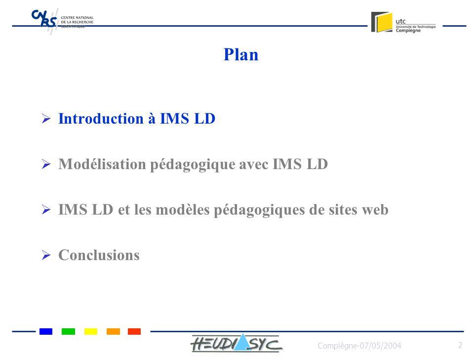 Compiègne-07/05/2004 2 Plan Introduction à IMS LD Modélisation pédagogique avec IMS LD IMS LD et les modèles pédagogiques de sites web Conclusions