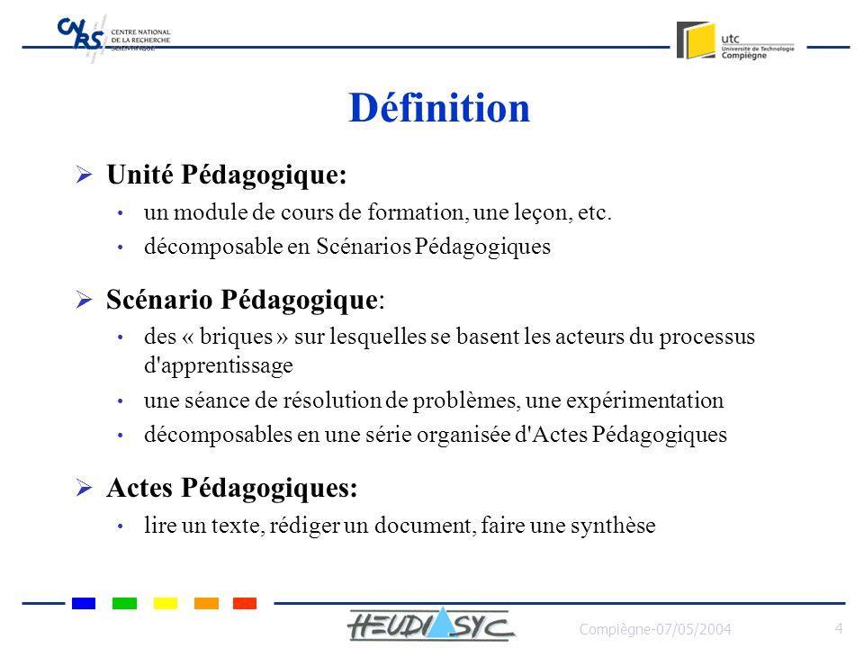Compiègne-07/05/2004 4 Définition Unité Pédagogique: un module de cours de formation, une leçon, etc. décomposable en Scénarios Pédagogiques Scénario