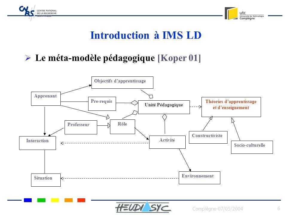 Compiègne-07/05/2004 6 Introduction à IMS LD Le méta-modèle pédagogique [Koper 01] Objectifs dapprentissage Apprenant Pre-requis Professeur Rôle Unité