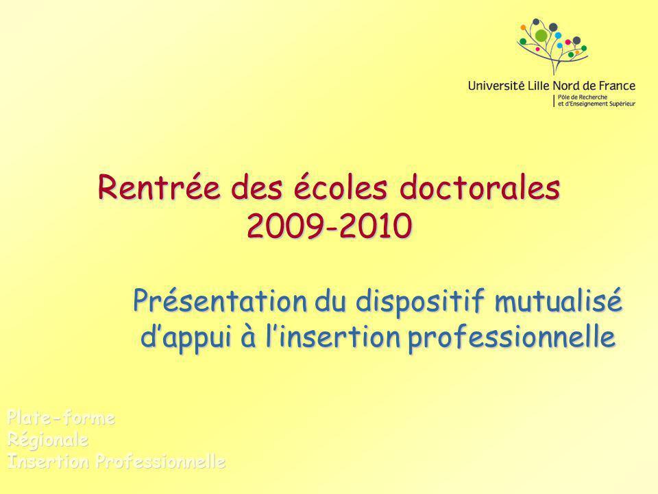 Rentrée des écoles doctorales 2009-2010 Présentation du dispositif mutualisé dappui à linsertion professionnelle Plate-forme Régionale Insertion Profe
