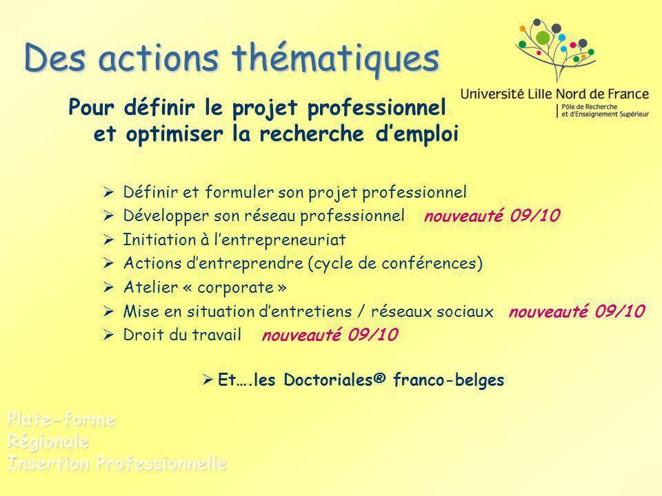 Des actions thématiques Pour définir le projet professionnel et optimiser la recherche demploi Définir et formuler son projet professionnel Développer