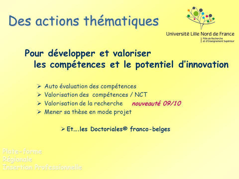 Des actions thématiques Pour développer et valoriser les compétences et le potentiel dinnovation Auto évaluation des compétences Valorisation des comp