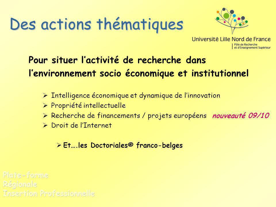 Des actions thématiques Pour situer lactivité de recherche dans lenvironnement socio économique et institutionnel Intelligence économique et dynamique