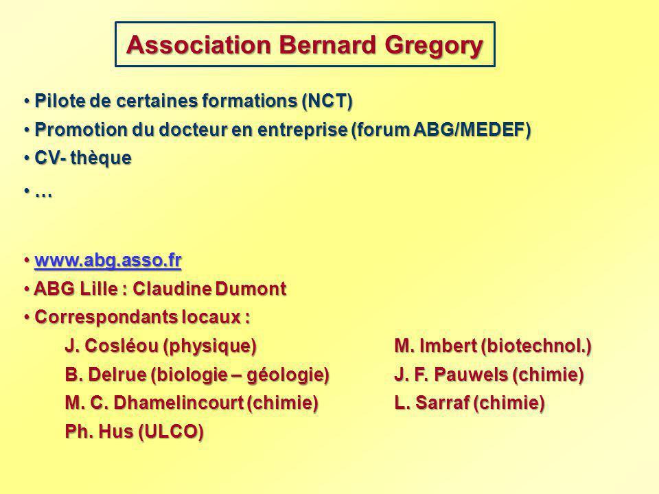 Association Bernard Gregory Pilote de certaines formations (NCT) Pilote de certaines formations (NCT) Promotion du docteur en entreprise (forum ABG/ME