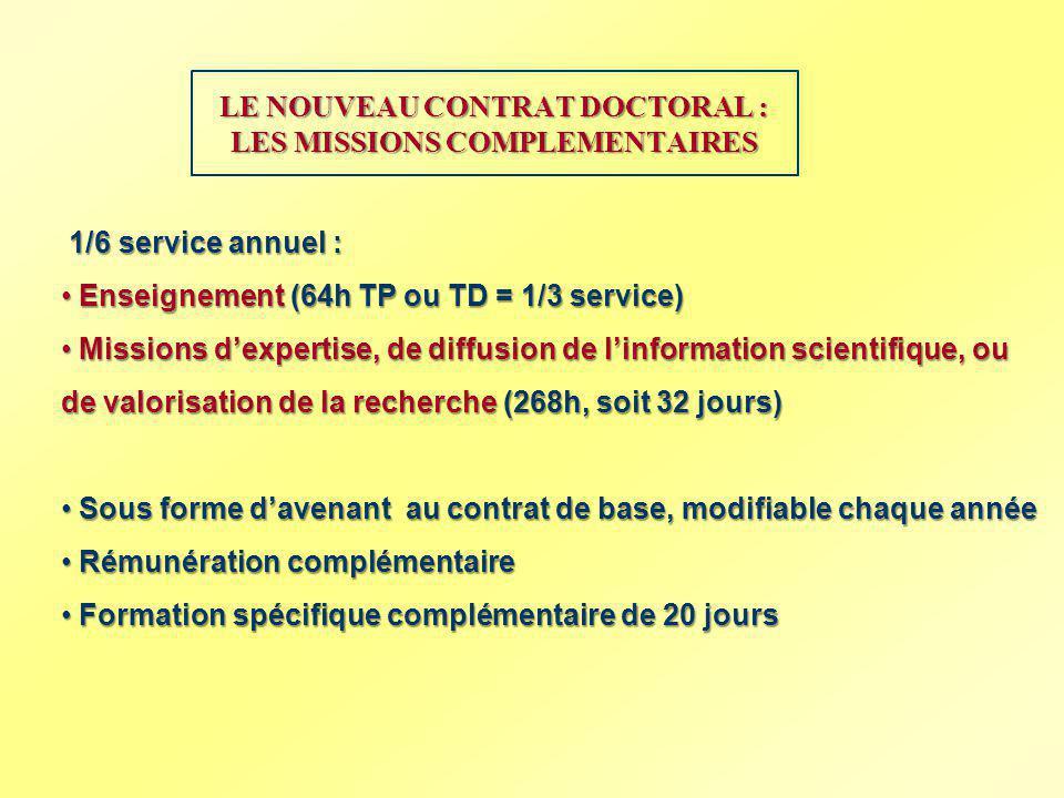 LE NOUVEAU CONTRAT DOCTORAL : LES MISSIONS COMPLEMENTAIRES 1/6 service annuel : 1/6 service annuel : Enseignement (64h TP ou TD = 1/3 service) Enseign