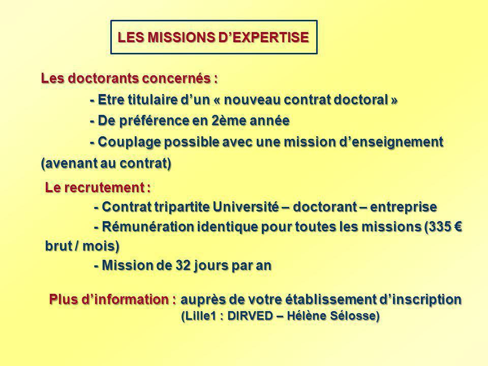 LES MISSIONS DEXPERTISE Les doctorants concernés : - Etre titulaire dun « nouveau contrat doctoral » - De préférence en 2ème année - Couplage possible