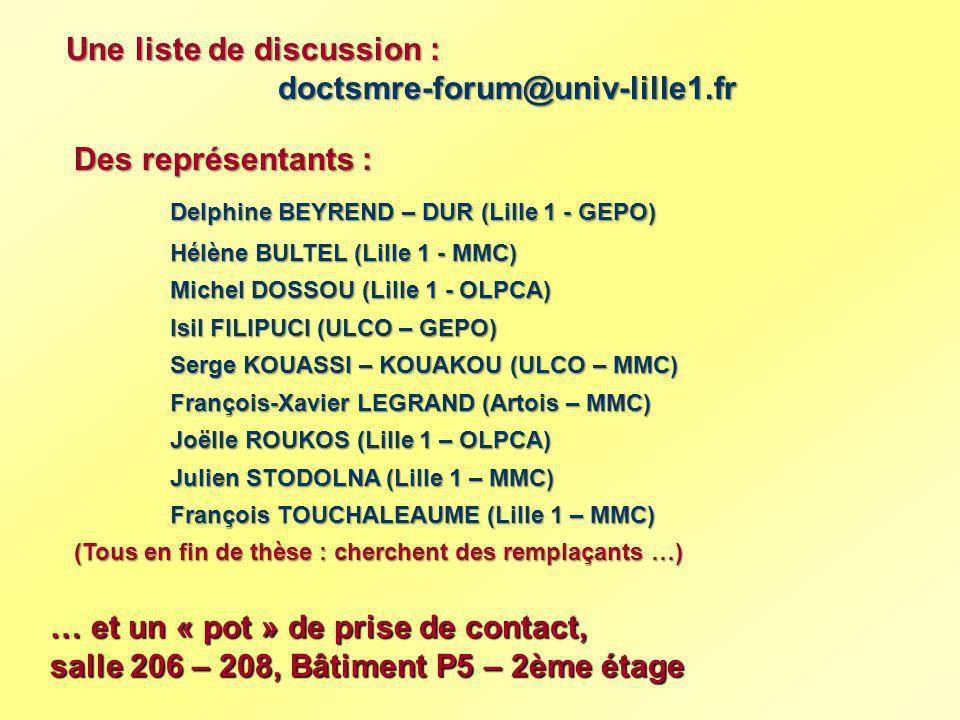 Une liste de discussion : doctsmre-forum@univ-lille1.fr doctsmre-forum@univ-lille1.fr Des représentants : Delphine BEYREND – DUR (Lille 1 - GEPO) Hélè