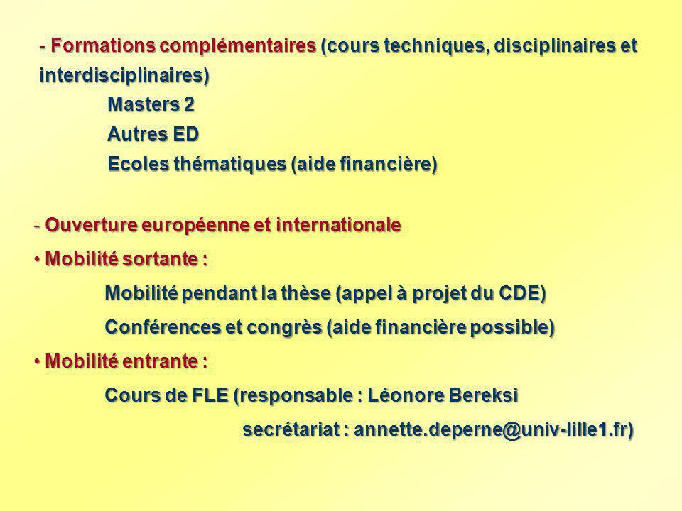- Ouverture européenne et internationale Mobilité sortante : Mobilité sortante : Mobilité pendant la thèse (appel à projet du CDE) Conférences et cong