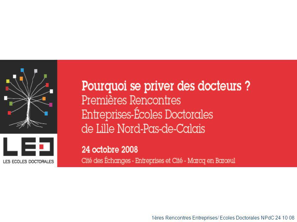 1ères Rencontres Entreprises/ Ecoles Doctorales NPdC 24/10/08 Quelques chiffres à retenir au niveau national 2500 postes (Ens.