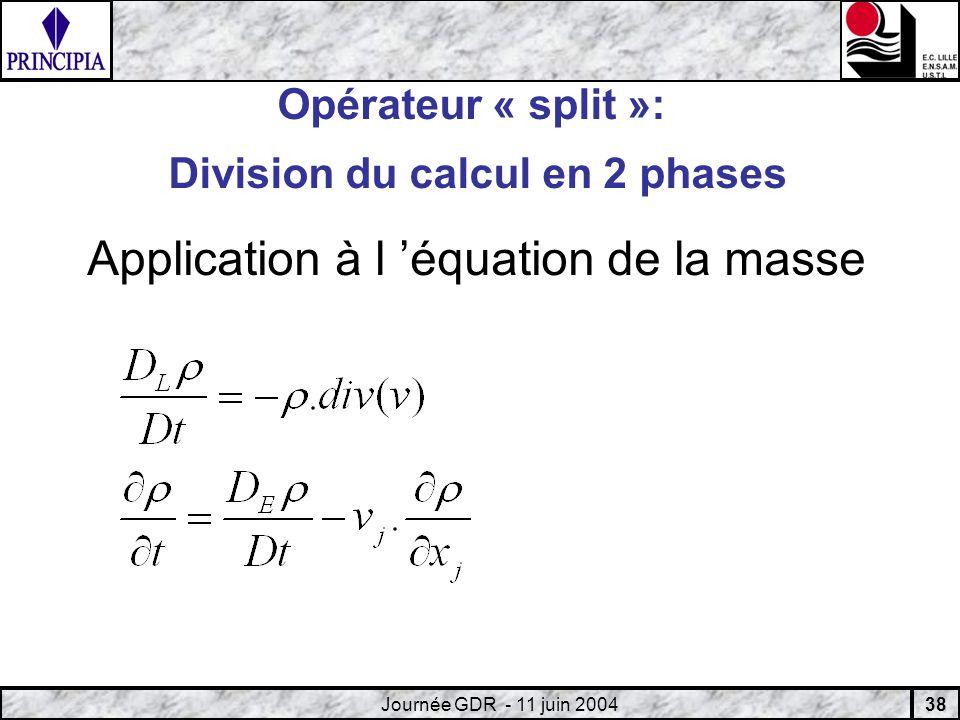 38 Journée GDR - 11 juin 2004 Opérateur « split »: Division du calcul en 2 phases Application à l équation de la masse