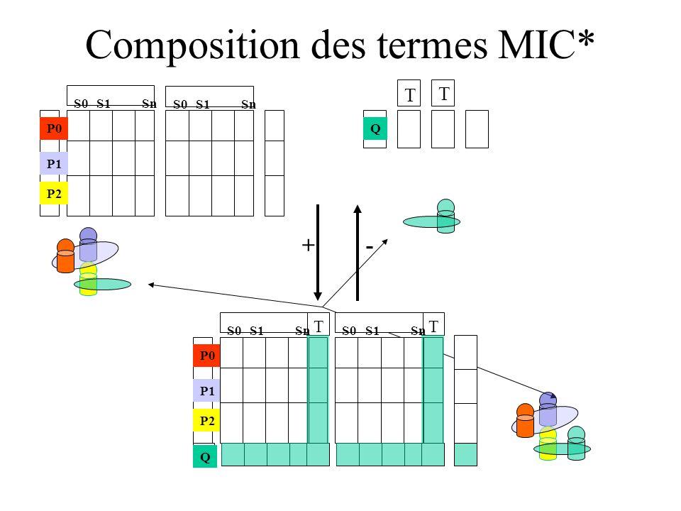 Composition des termes MIC* S0S1Sn S0S1 Sn P0 P1 P2 +- Q T T P0 P1 P2 Q S0S1Sn T S0S1Sn T