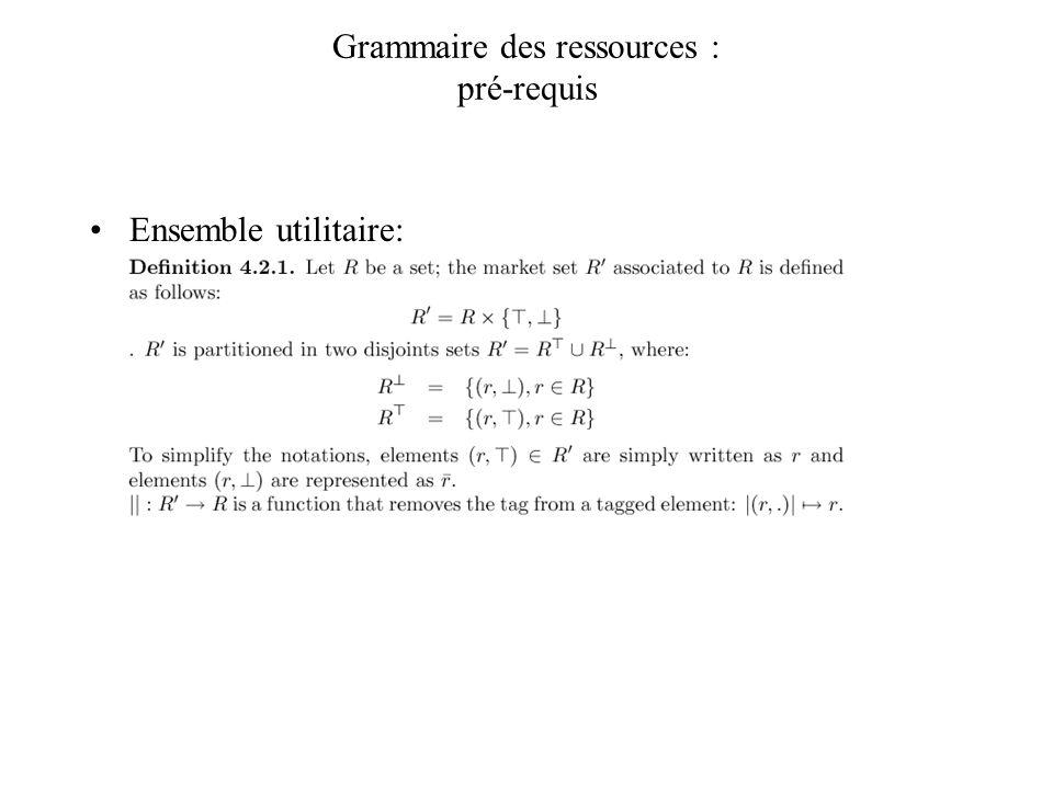 Grammaire des ressources : pré-requis Ensemble utilitaire: