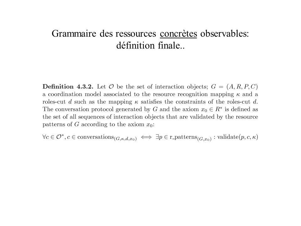 Grammaire des ressources concrètes observables: définition finale..