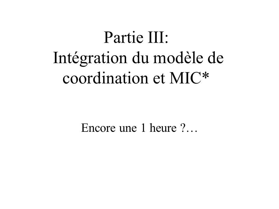 Partie III: Intégration du modèle de coordination et MIC* Encore une 1 heure …