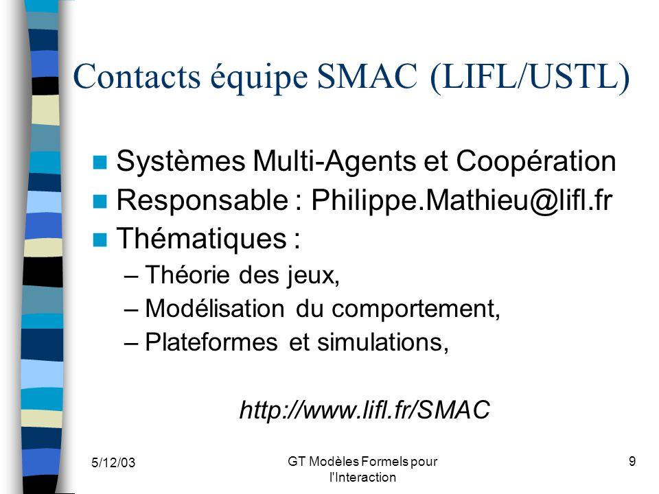 5/12/03 GT Modèles Formels pour l'Interaction 9 Contacts équipe SMAC (LIFL/USTL) Systèmes Multi-Agents et Coopération Responsable : Philippe.Mathieu@l