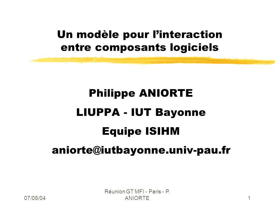 07/05/04 Réunion GT MFI - Paris - P. ANIORTE1 Un modèle pour linteraction entre composants logiciels Philippe ANIORTE LIUPPA - IUT Bayonne Equipe ISIH