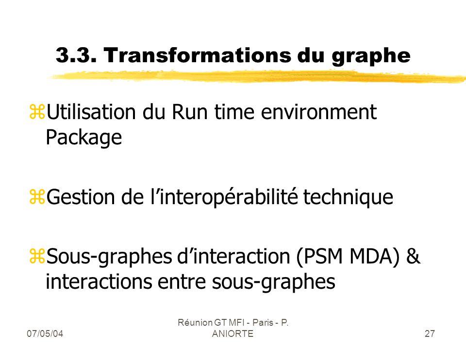 07/05/04 Réunion GT MFI - Paris - P. ANIORTE27 3.3. Transformations du graphe zUtilisation du Run time environment Package zGestion de linteropérabili