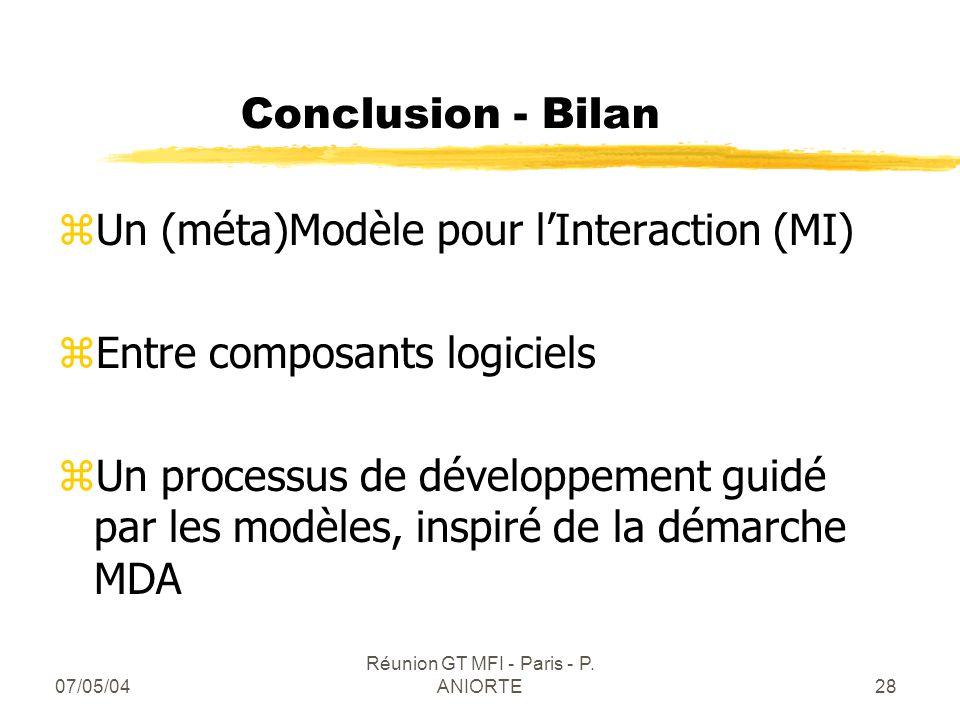 07/05/04 Réunion GT MFI - Paris - P. ANIORTE28 Conclusion - Bilan zUn (méta)Modèle pour lInteraction (MI) zEntre composants logiciels zUn processus de