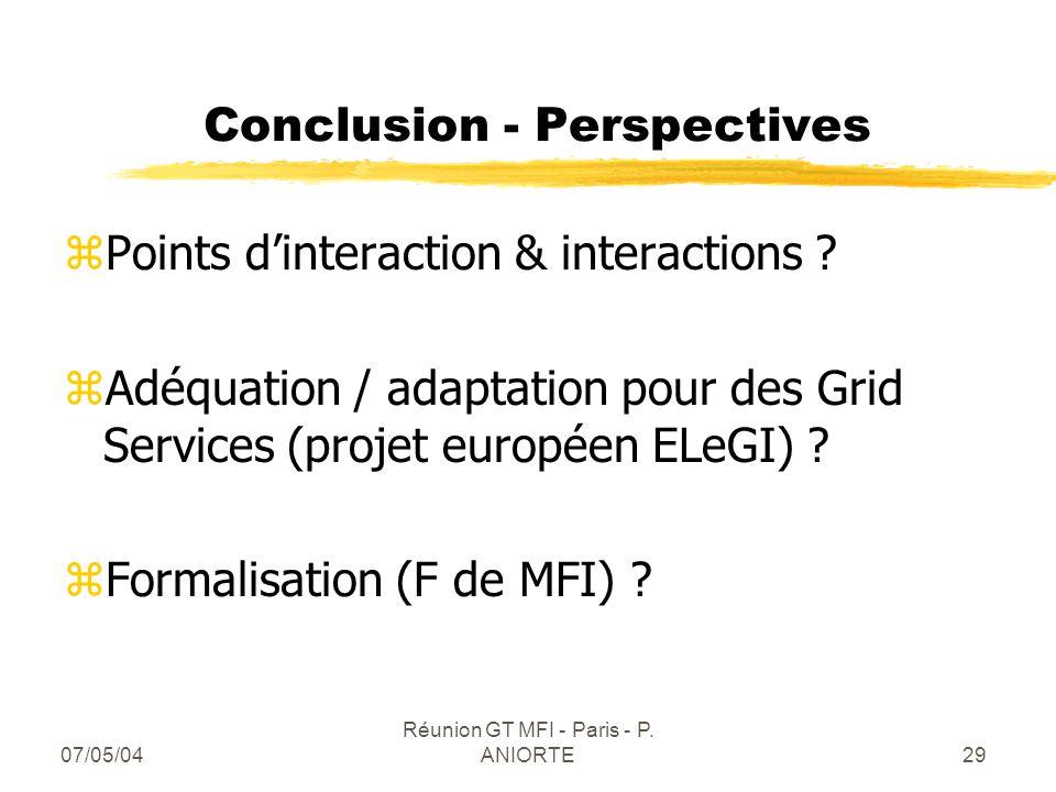 07/05/04 Réunion GT MFI - Paris - P. ANIORTE29 Conclusion - Perspectives zPoints dinteraction & interactions ? zAdéquation / adaptation pour des Grid