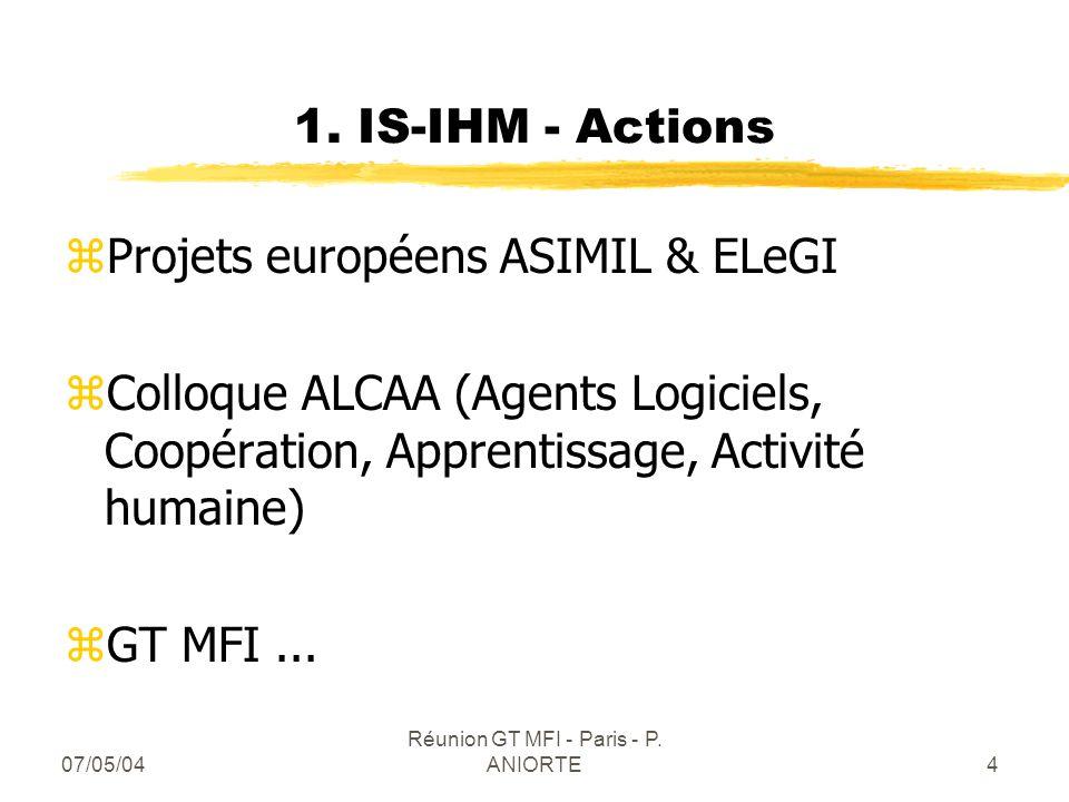 07/05/04 Réunion GT MFI - Paris - P. ANIORTE4 1. IS-IHM - Actions zProjets européens ASIMIL & ELeGI zColloque ALCAA (Agents Logiciels, Coopération, Ap