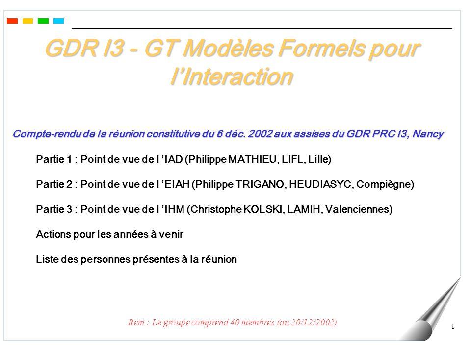 1 GDR I3 - GT Modèles Formels pour lInteraction Compte-rendu de la réunion constitutive du 6 déc.