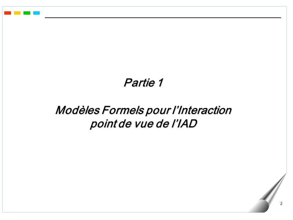 3 Modèles Formels pour lInteraction point de vue de lIAD -Développement croissant des applications dans un contexte distribué, en particulier lié à l Internet - Un SMA est inévitablement basé sur des composants logiciels distribués - L objectif principal des travaux liés à l IAD/SMA est de concevoir des méthodes efficaces d interaction (coordination) entre ces composants Typologie des Systèmes Centralisés distribués Réactifs Cognitifs -> Vers des ensembles dentités autonomes interactives