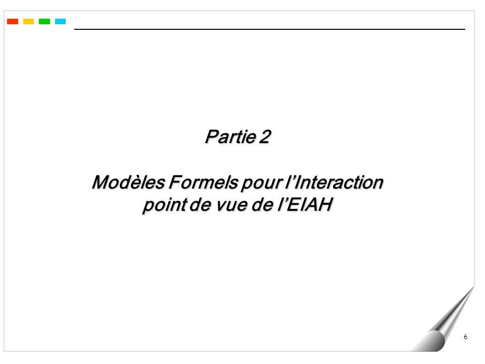 6 Partie 2 Modèles Formels pour lInteraction point de vue de lEIAH