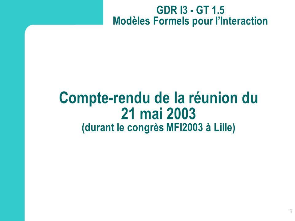 1 GDR I3 - GT 1.5 Modèles Formels pour lInteraction Compte-rendu de la réunion du 21 mai 2003 (durant le congrès MFI2003 à Lille)