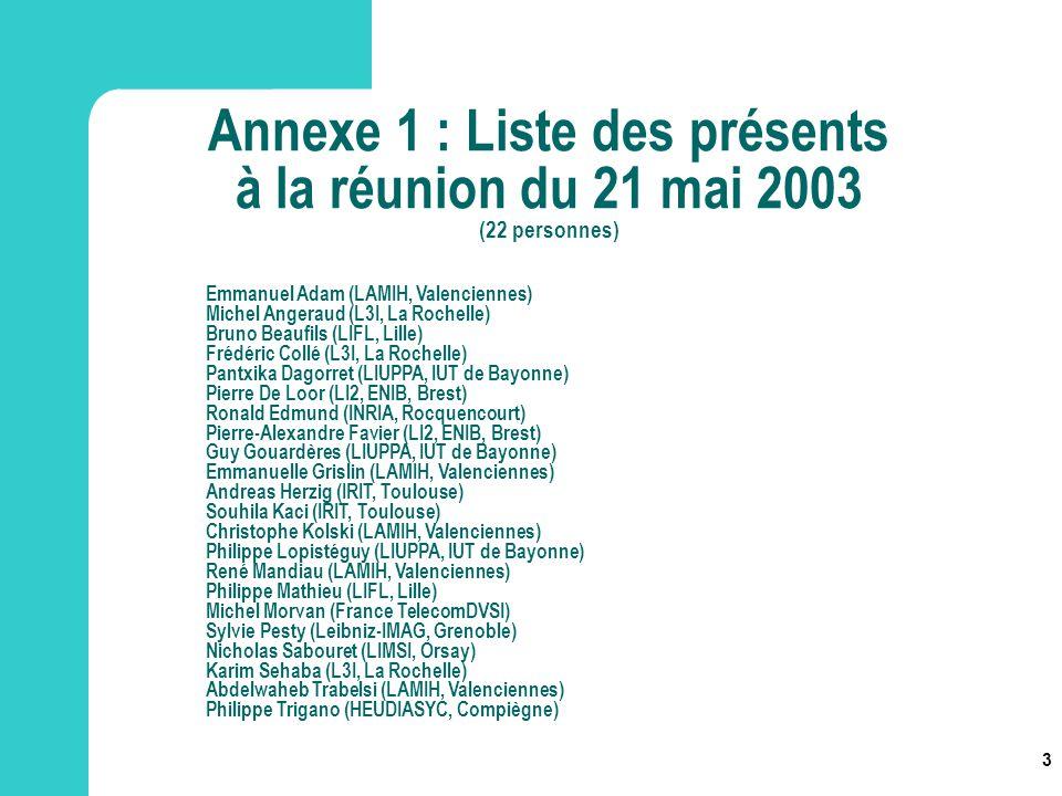 3 Annexe 1 : Liste des présents à la réunion du 21 mai 2003 (22 personnes) Emmanuel Adam (LAMIH, Valenciennes) Michel Angeraud (L3I, La Rochelle) Brun