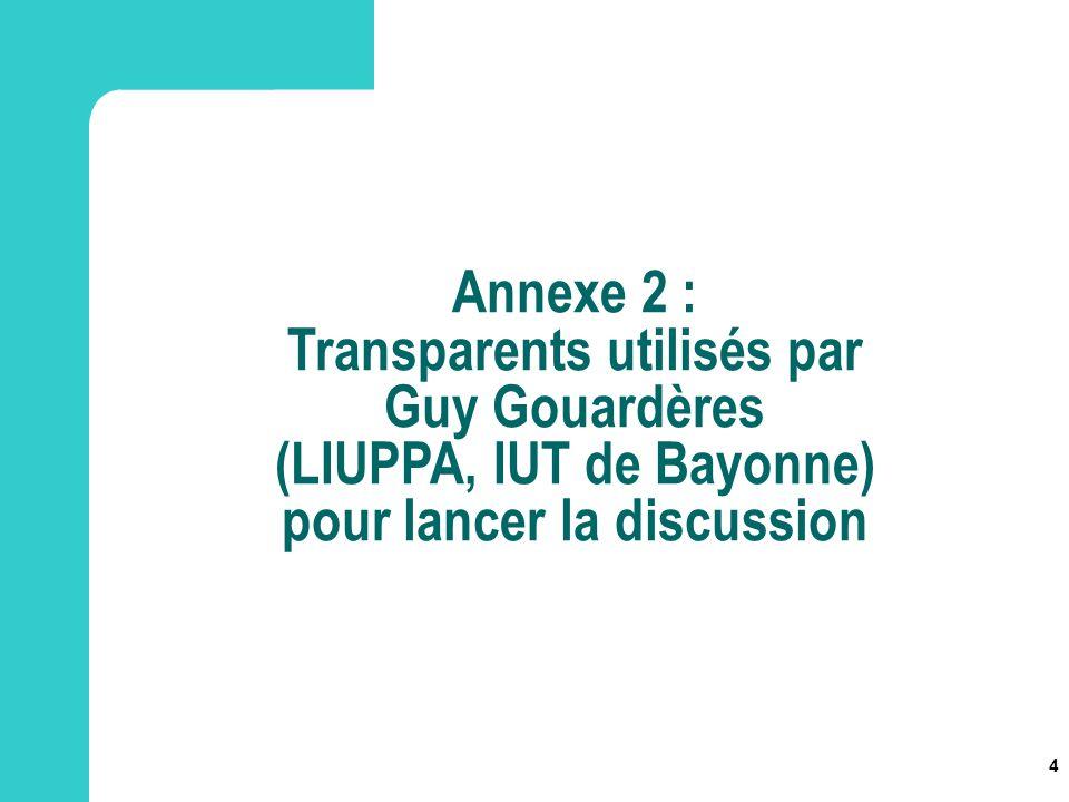 4 Annexe 2 : Transparents utilisés par Guy Gouardères (LIUPPA, IUT de Bayonne) pour lancer la discussion