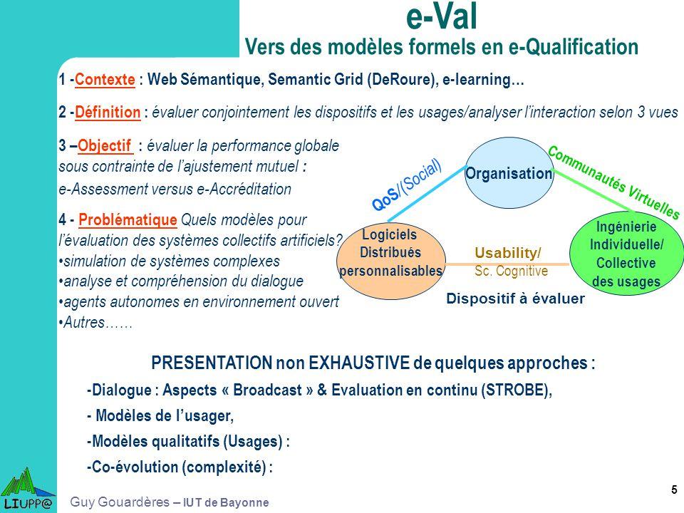 5 1 -Contexte : Web Sémantique, Semantic Grid (DeRoure), e-learning… 2 -Définition : évaluer conjointement les dispositifs et les usages/analyser lint