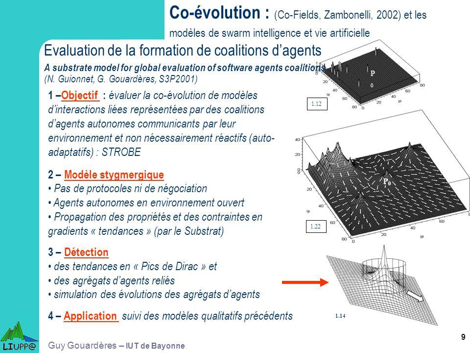 9 1.12 1.22 P0P0 P0P0 Co-évolution : (Co-Fields, Zambonelli, 2002) et les modèles de swarm intelligence et vie artificielle 1.14 1 –Objectif : évaluer
