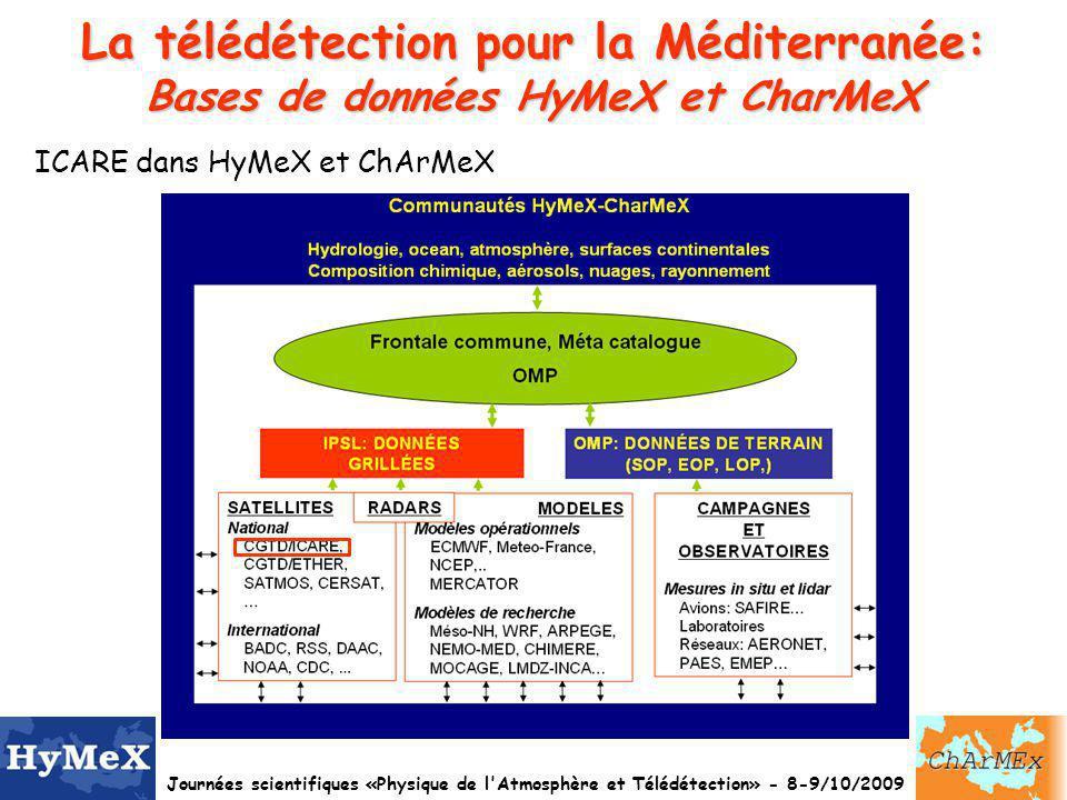 Journées scientifiques «Physique de l Atmosphère et Télédétection» - 8-9/10/2009 La télédétection pour la Méditerranée: Bases de données HyMeX et CharMeX ICARE dans HyMeX et ChArMeX