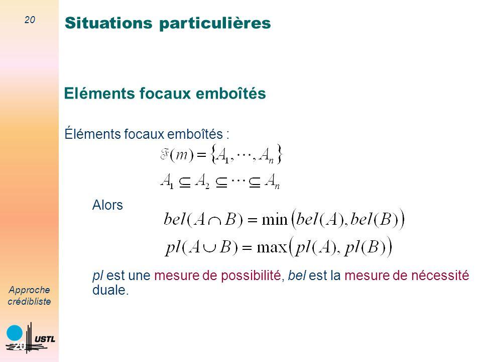 19 Approche crédibliste 19 Jeux de masses bayésiens Éléments focaux singletons : fonction de masse bayésienne On a alors bel=pl=mesure de probabilité