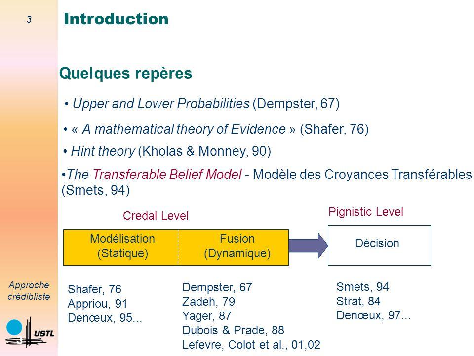 2 Approche crédibliste 2 Théorie de de l'évidence introduite par Shafer (1976) suite aux travaux de Dempster. Extension de la théorie des probabilités