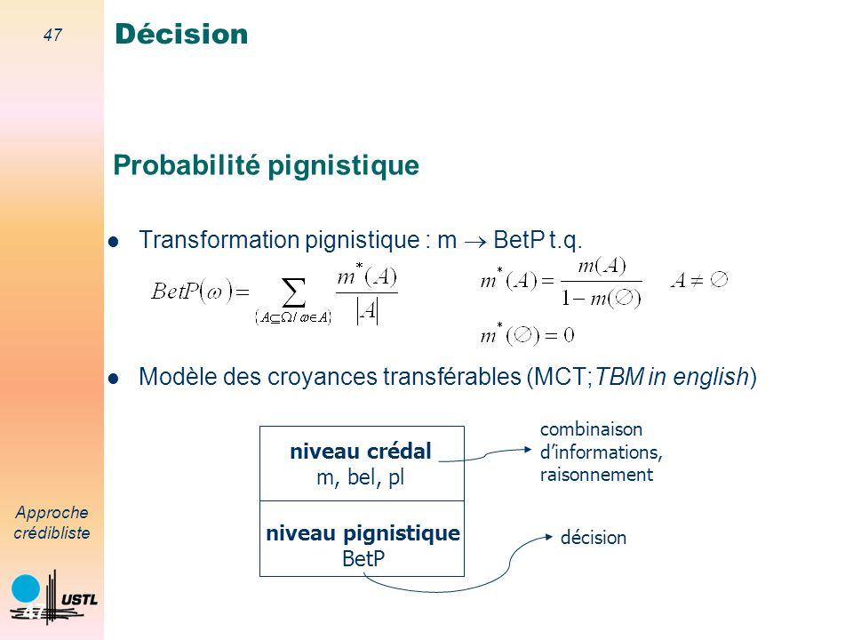 46 Approche crédibliste 46 Règles de décision Maximum de croyance Maximum de plausibilité Maximum de probabilité pignistique Décision