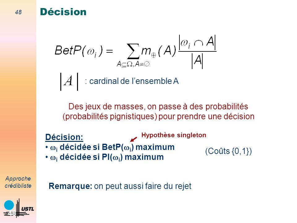 47 Approche crédibliste 47 Probabilité pignistique Transformation pignistique : m BetP t.q. Modèle des croyances transférables (MCT;TBM in english) ni