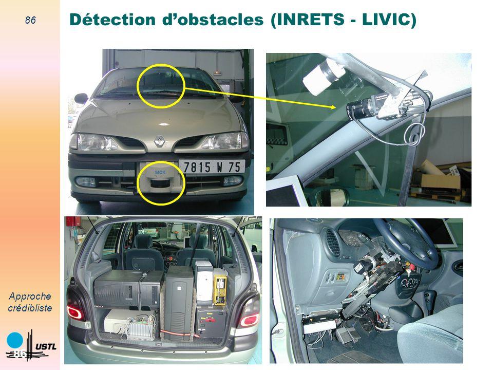85 Approche crédibliste 85 Détection dobstacles (INRETS - LIVIC) Objectif Aide à la conduite Détection dobstacles à lavant dun véhicule instrumenté Vé