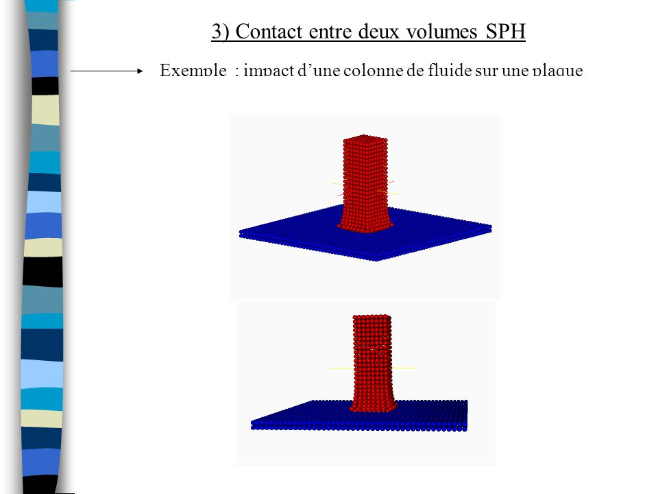 Exemple : impact dune colonne de fluide sur une plaque 3) Contact entre deux volumes SPH