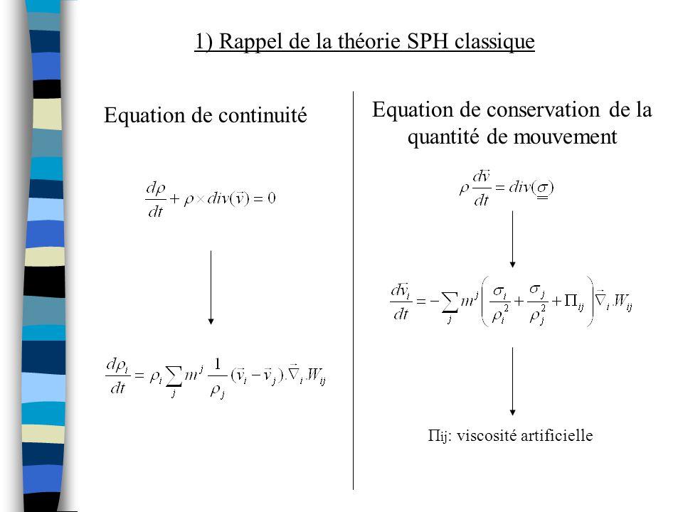 2) Problèmes de consistance La méthode SPH nest pas consistante ( surtout sur les bords ) : À lordre 0 normalisation du noyau utilisation dune formulation différentielle À lordre 1 la consistance dordre 1 permet la convergence