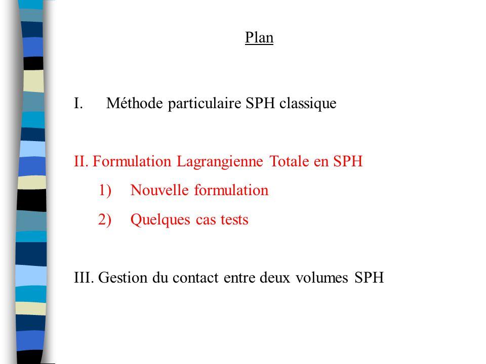 I.Méthode particulaire SPH classique II. Formulation Lagrangienne Totale en SPH 1)Nouvelle formulation 2)Quelques cas tests III. Gestion du contact en