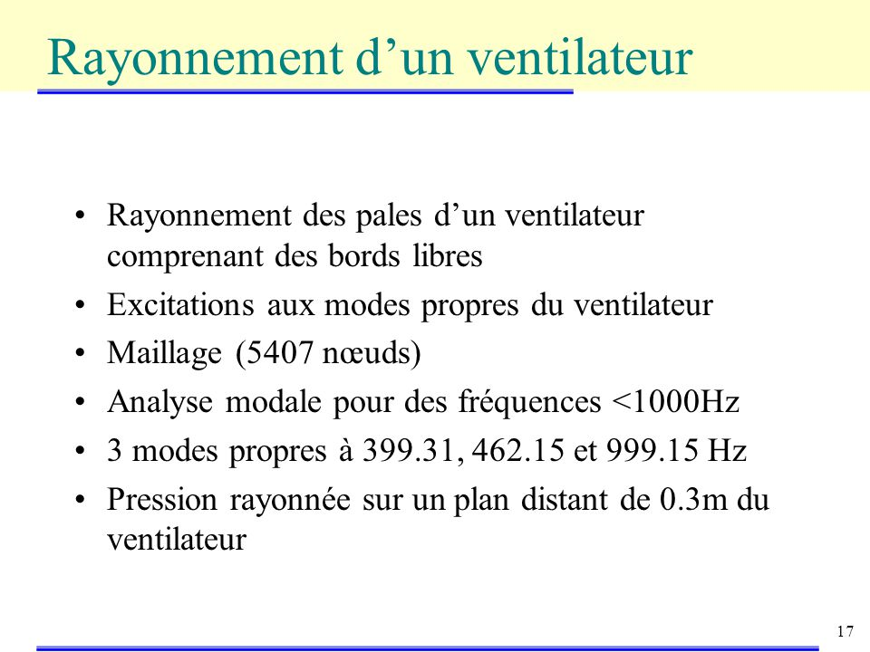 17 Rayonnement des pales dun ventilateur comprenant des bords libres Excitations aux modes propres du ventilateur Maillage (5407 nœuds) Analyse modale pour des fréquences <1000Hz 3 modes propres à 399.31, 462.15 et 999.15 Hz Pression rayonnée sur un plan distant de 0.3m du ventilateur Rayonnement dun ventilateur
