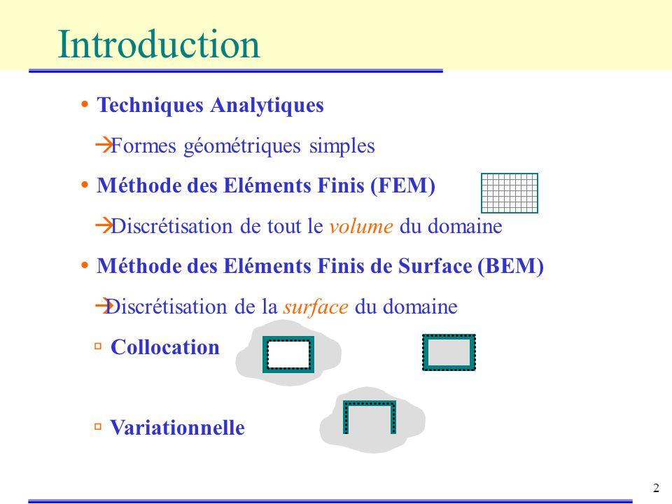 2 Techniques Analytiques Formes géométriques simples Méthode des Eléments Finis (FEM) Discrétisation de tout le volume du domaine Méthode des Eléments Finis de Surface (BEM) Discrétisation de la surface du domaine Collocation Variationnelle Introduction