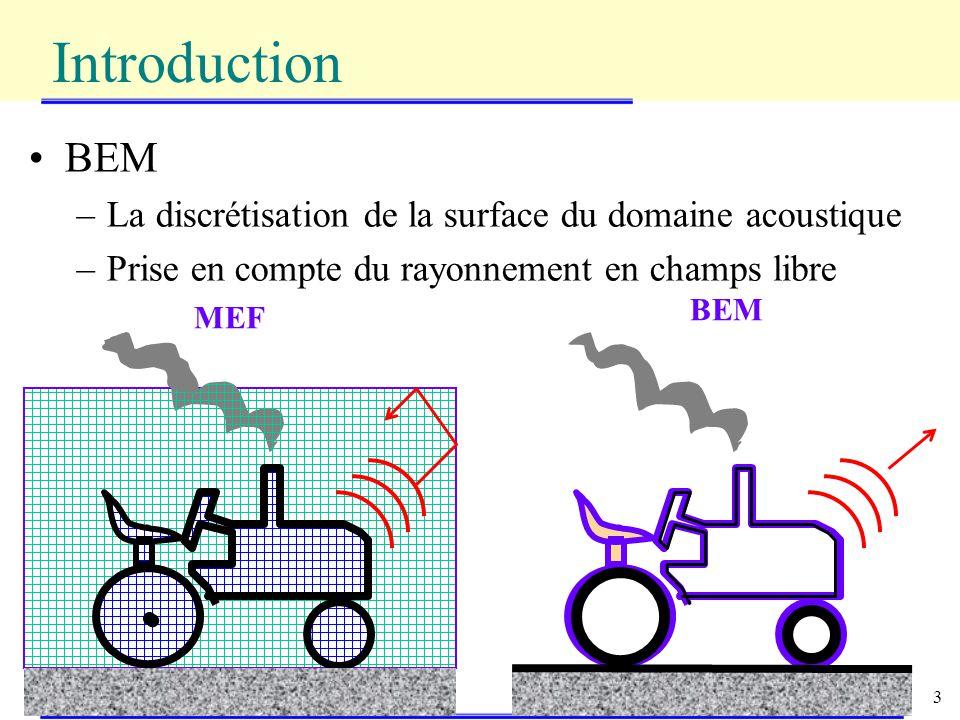 3 BEM –La discrétisation de la surface du domaine acoustique –Prise en compte du rayonnement en champs libre Introduction BEM MEF