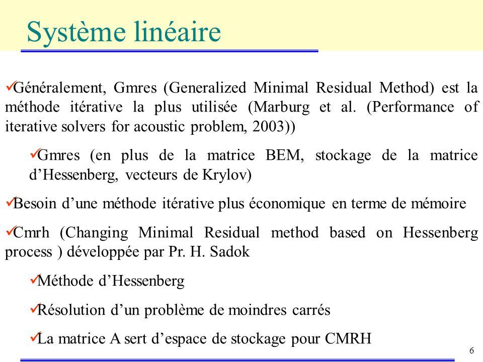 6 Système linéaire Généralement, Gmres (Generalized Minimal Residual Method) est la méthode itérative la plus utilisée (Marburg et al.