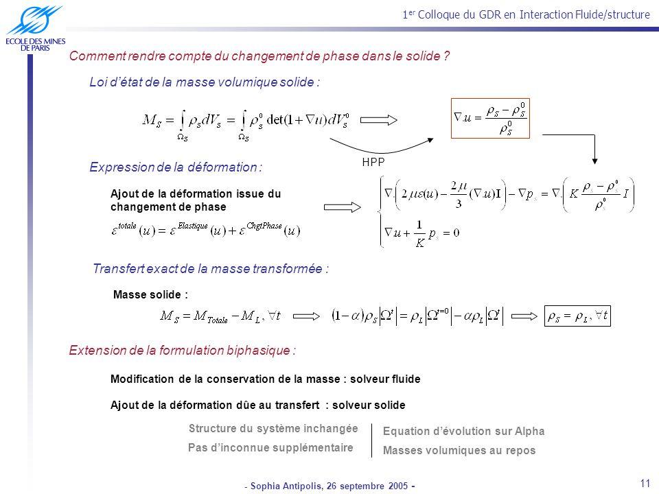 1 er Colloque du GDR en Interaction Fluide/structure - Sophia Antipolis, 26 septembre 2005 - Loi détat de la masse volumique solide : Comment rendre compte du changement de phase dans le solide .