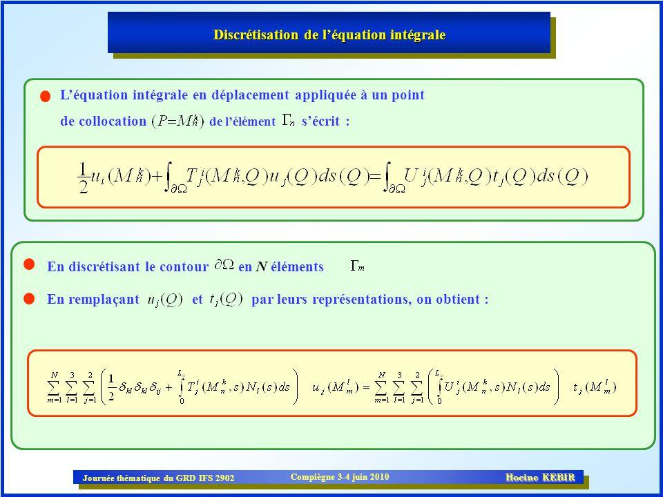 Journée thématique du GRD IFS 2902 Compiègne 3-4 juin 2010 Hocine KEBIR Discrétisation de léquation intégrale Léquation intégrale en déplacement appli