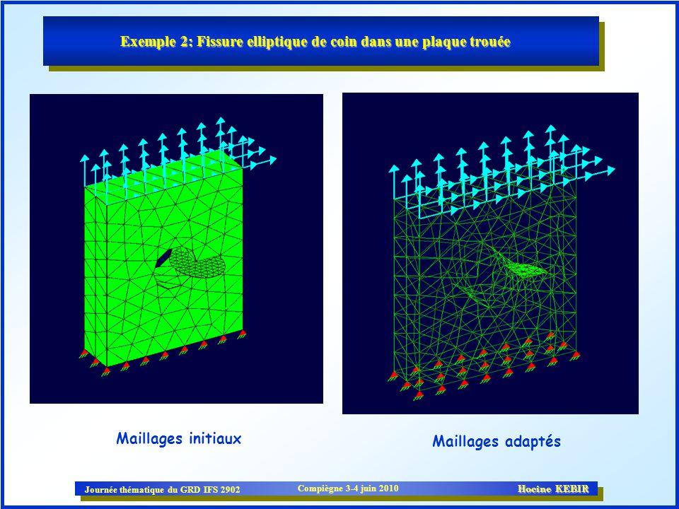 Journée thématique du GRD IFS 2902 Compiègne 3-4 juin 2010 Hocine KEBIR Maillages initiaux Maillages adaptés Exemple 2: Fissure elliptique de coin dan